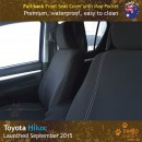 Neoprene FULL-BACK Front Seat Covers + Map Pockets for Toyota Hilux MK.8 Workmate