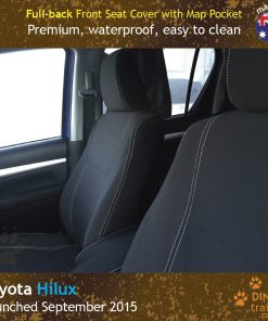 Custom Fit, waterproof, Neoprene Toyota Hilux MK.8 SR SR5, FULL-BACK Front Seat Covers.