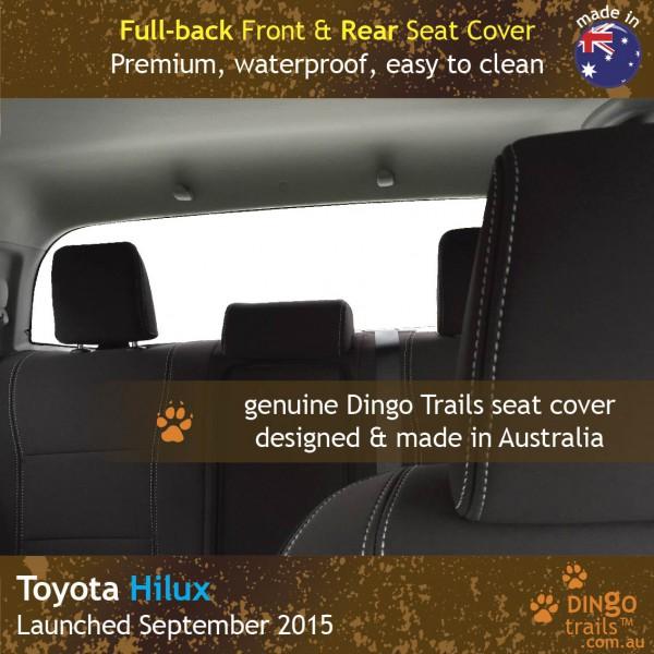 Neoprene FULL-BACK Front & REAR Seat Covers + Armrest Access for Toyota Hilux MK.8 SR SR5