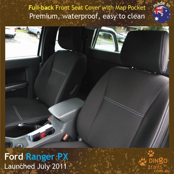 Neoprene FULL-BACK Front Seat Covers + Map PocketS for Ford Ranger PX.