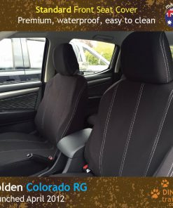 Custom Fit, waterproof, Neoprene Holden Colorado RG Front Seat Covers.