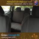 Custom Fit, waterproof, Neoprene Holden Colorado RG Full-Back Front & Rear Seat Covers.