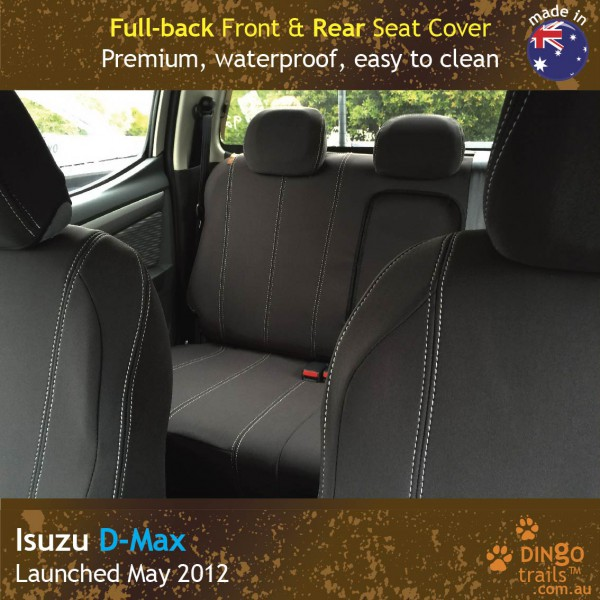 Neoprene FULL-BACK Front & REAR Seat Covers + Armrest Access for ISUZU D-Max RC