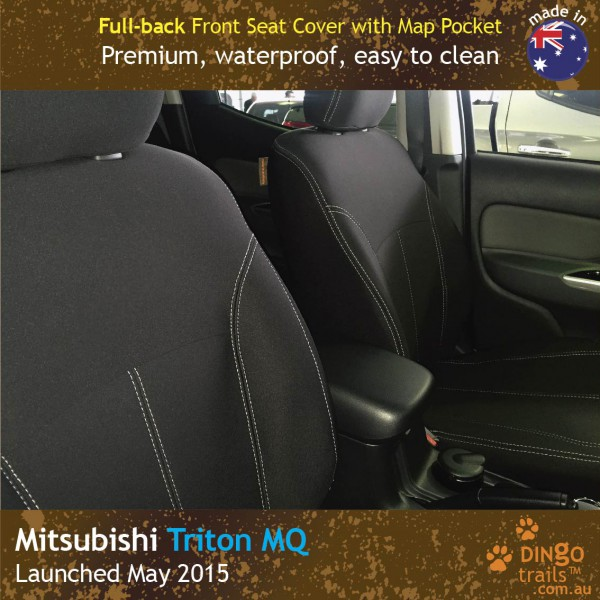 Neoprene FULL-BACK Front Seat Covers + Map Pockets for Mitsubishi Triton MQ