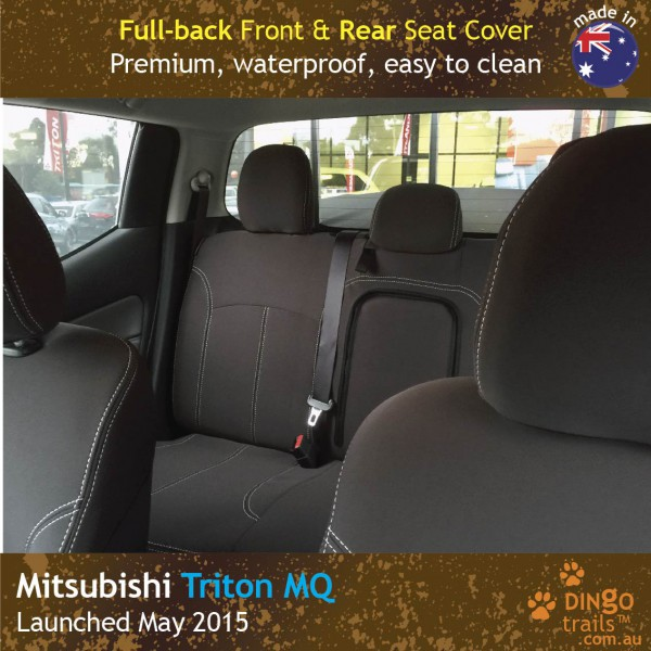 Neoprene FULL-BACK Front & REAR Seat Covers + Armrest Access for Mitsubishi Triton MQ