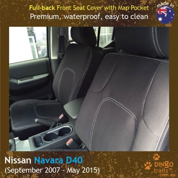 Neoprene FULL-BACK Front Seat Covers + Map Pockets for Nissan Navara D40