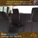 Custom Fit, Waterproof, Neoprene Nissan Navara D40 FULL-BACK Front & REAR Seat Covers.