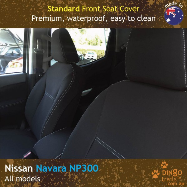 Neoprene FULL-BACK Front Seat Covers + Map Pockets for Nissan Navara NP300 D23