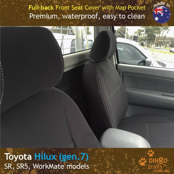 Neoprene FULL-BACK Front & Rear Seat Covers + Map Pockets for Toyota Hilux, SR, SR5, Workmate