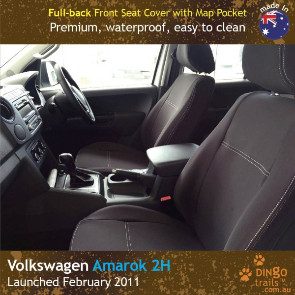 Neoprene FULL-BACK Front Seat Covers + Map Pockets for Volkswagen Amarok 2H