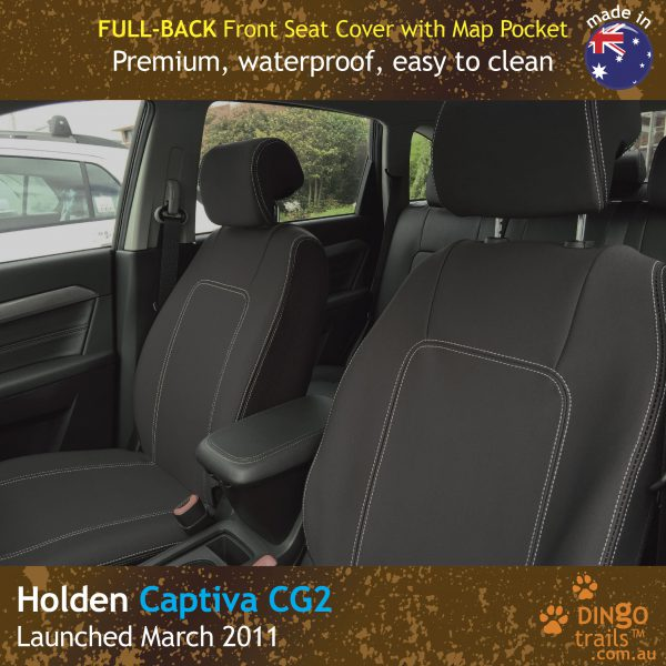 Neoprene FULL-BACK Front Seat Covers + Map Pockets For Holden Captiva 5 CG2