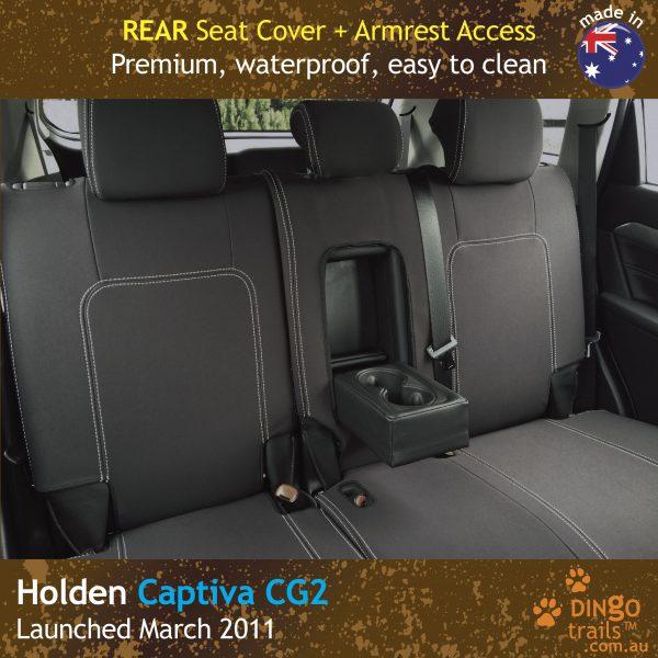 Neoprene Full-back REAR Seat Cover + Armrest Access For Holden Captiva 5 CG2