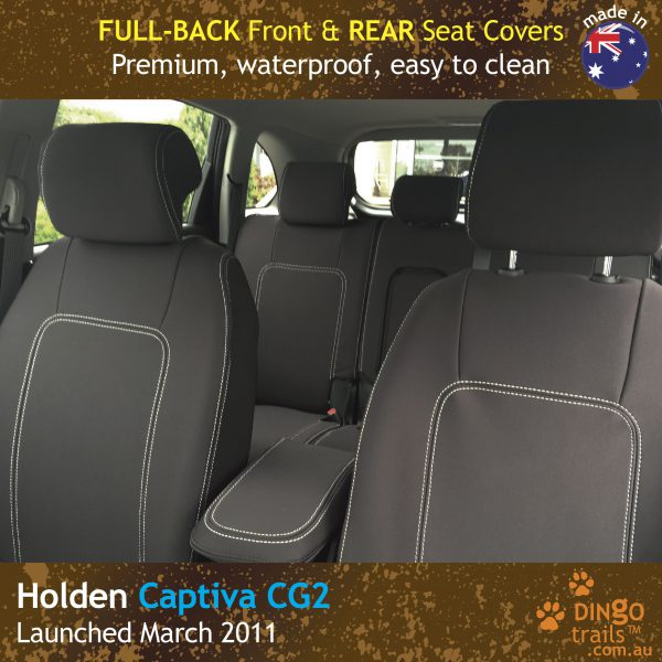Neoprene FULL-BACK Front & REAR Seat Covers + Armrest Access For Holden Captiva 5 CG2