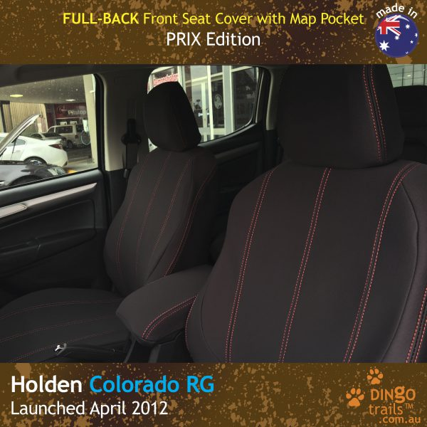 Full-Back Front Seat Covers + Map Pockets for Holden Colorado RG (PRIX Edition). Custom Fit & made with Neoprene
