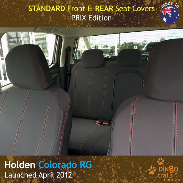 Neoprene Front & Rear Seat Covers + Armrest Access for Holden Colorado RG