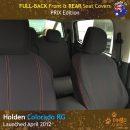 Custom Fit, waterproof, Neoprene ISUZU D-Max RC FULL-BACK Front Seat Covers. (PRIX Edition).