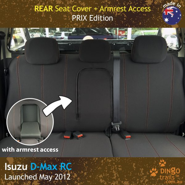 Neoprene REAR Seat Cover + Armrest Access for ISUZU D-Max RC