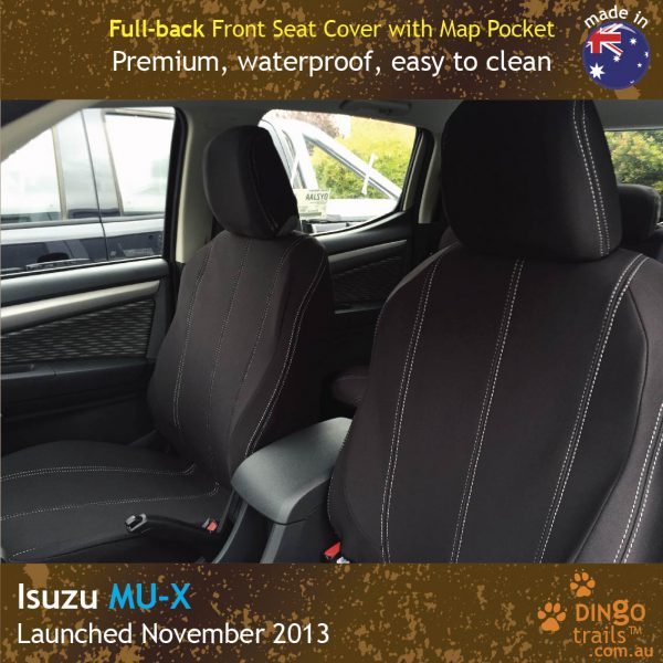 Neoprene FULL-BACK Front Seat Covers + Map Pockets for ISUZU MU-X