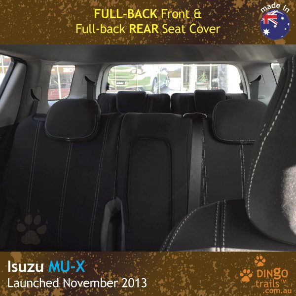 Neoprene FULL-BACK Front & REAR Seat Covers + Armrest Access For ISUZU MU-X