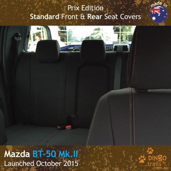 Neoprene FRONT & REAR Seat Covers (PRIX Edition) + Armrest Access For Mazda BT-50 UR