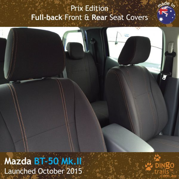Neoprene FULL-BACK Front & REAR Seat Covers + Armrest Access (PRIX Edition) for Mazda BT-50-UR