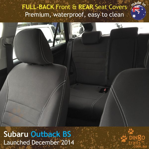 Neoprene FULL-BACK Front & REAR Seat Covers + Armrest Access  for Subaru Outback BS