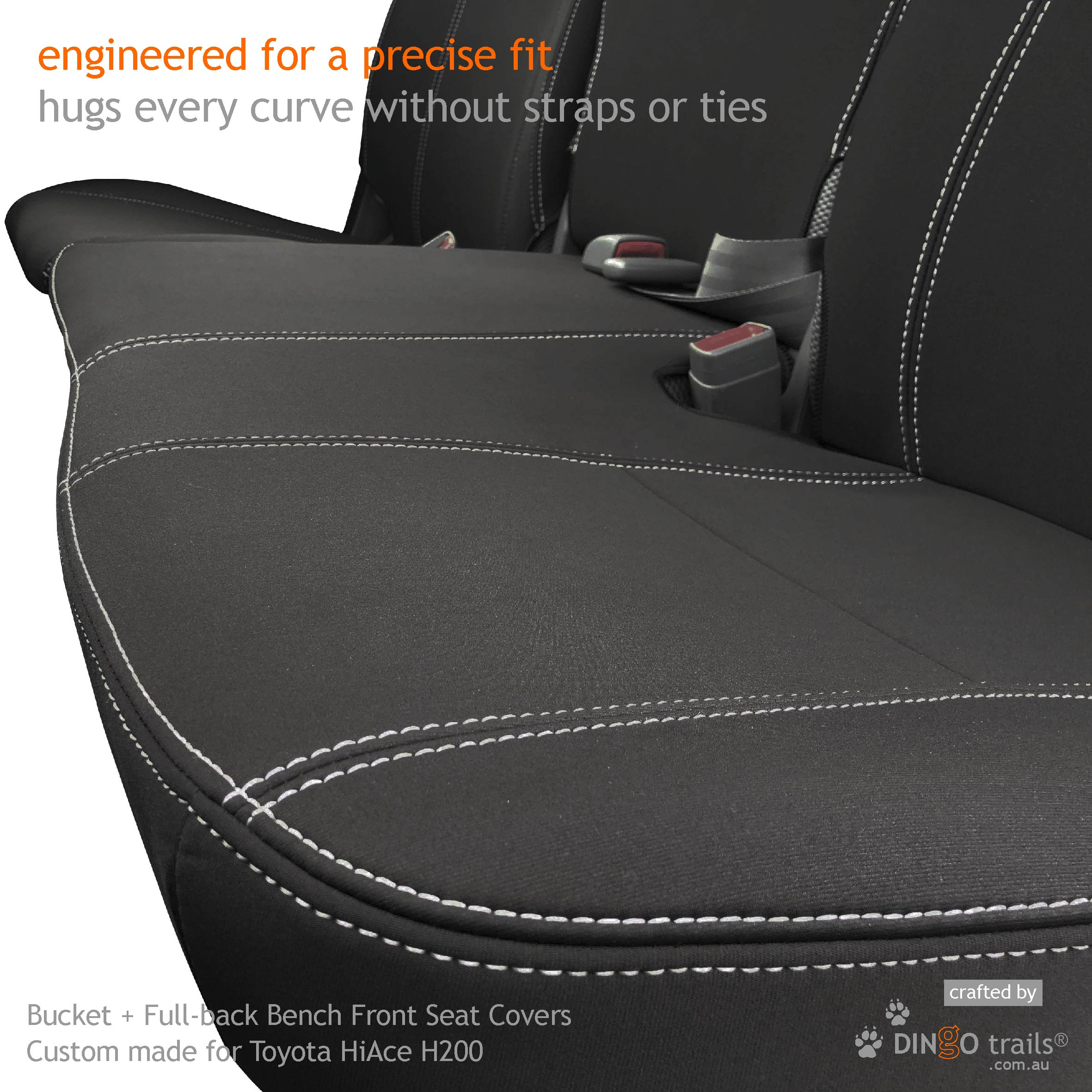 Full Back Bucket Bench Front Seat Cover For Toyota Hiace Van Tha05 Fbfbe Dingo Trails
