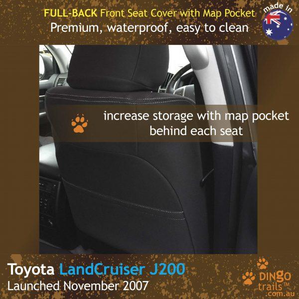 Neoprene FULL-BACK Front Seat Covers + Map Pockets for Toyota LandCruiser J200 – GX GXL