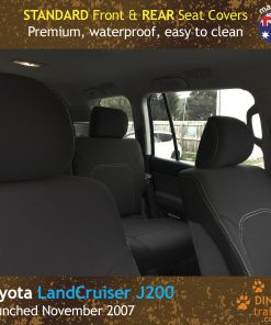 Custom Fit, Waterproof, Neoprene Toyota Landcruiser J200 - GX GXL FRONT & REAR Seat Covers.