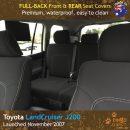 Custom Fit, Waterproof, Neoprene Toyota Landcruiser J200 - GX GXL FULL-BACK Front & REAR Seat Covers.