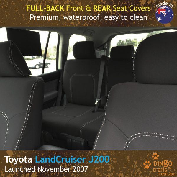 Neoprene FULL-BACK Front & REAR Seat Covers for Toyota Landcruiser J200 – GX GXL