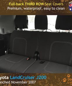 Custom Fit, Waterproof, Neoprene Toyota Landcruiser J200 - GX GXL Full-back THIRD ROW Seat Covers.