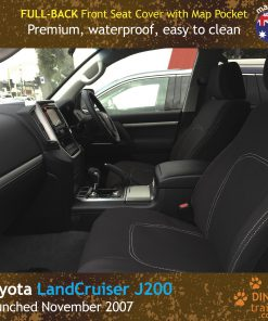 Custom Fit, Waterproof, Neoprene Toyota Landcruiser J200, MK.I & II, VX Altitude & Sahara FULL-BACK Front Seat Covers with Map Pockets.