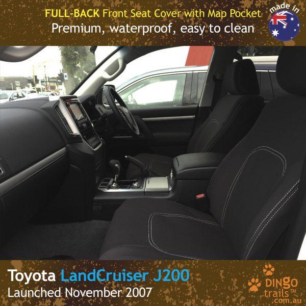 Neoprene FULL-BACK Front Seat Covers + Map Pockets for Toyota Landcruiser J200, MK.I & II, VX Altitude & Sahara