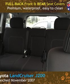Custom Fit, Waterproof, Neoprene Toyota Landcruiser J200, MK.I & II, VX Altitude & Sahara FULL-BACK Front & REAR Seat Covers.