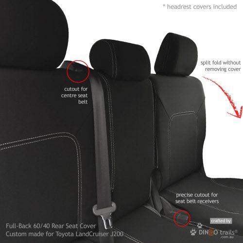 Custom Fit, Waterproof, Neoprene Toyota Landcruiser J200 - GX GXL REAR Seat Cover.