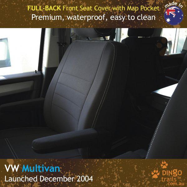 Neoprene FULL-BACK Front Seat Covers + Map Pockets for Volkswagen Multivan T5, T6