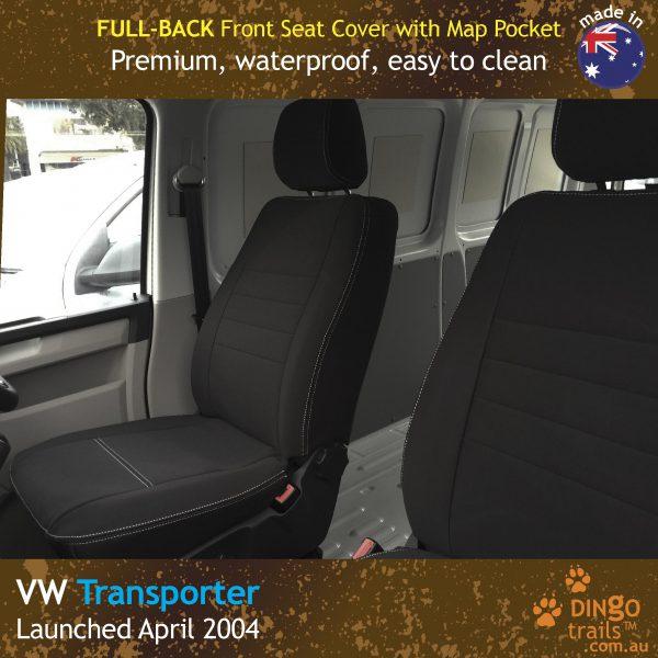 Neoprene FULL-BACK Front Seat Covers + Map Pockets for Volkswagen Transporter T5, T6