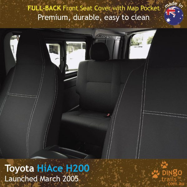 Neoprene FULL-BACK Front Seat Covers + Map Pockets for Toyota Hiace H200