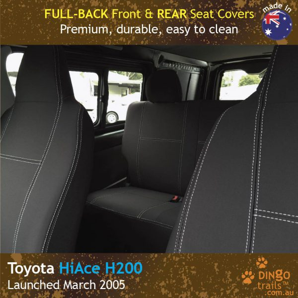 Neoprene FULL-BACK Front & REAR Seat Covers for Toyota Hiace Crew Van H200
