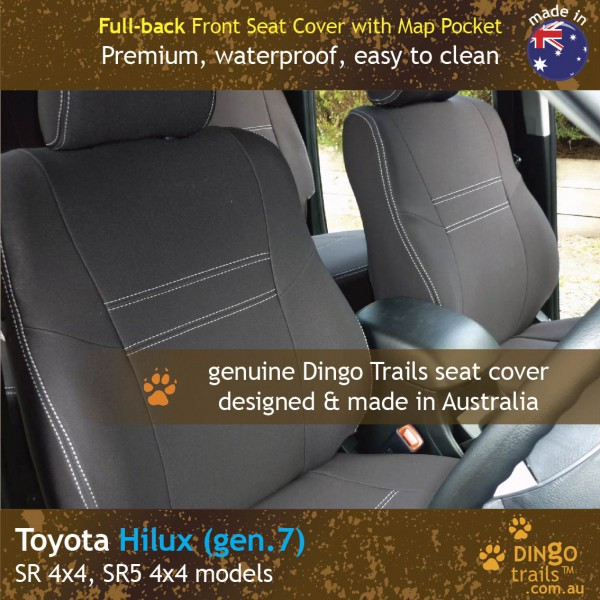Neoprene FULL-BACK Front Seat Covers + Map Pockets for Toyota Hilux MK.7 – Sports